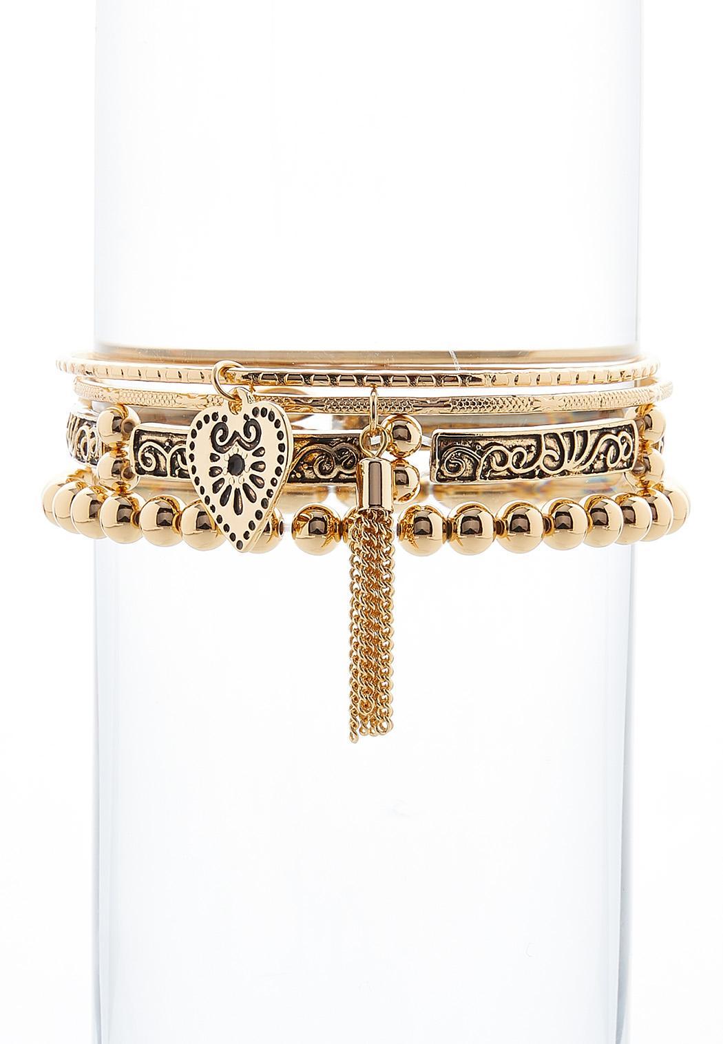 Heart Charm Etched Bracelet Set
