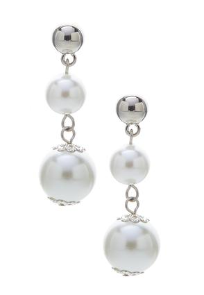 Double Pearl Linear Earrings