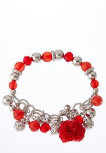 Beaded Raffia Pom Bracelet