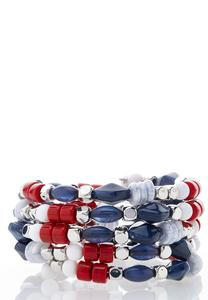 Red White Blue Coil Bracelet