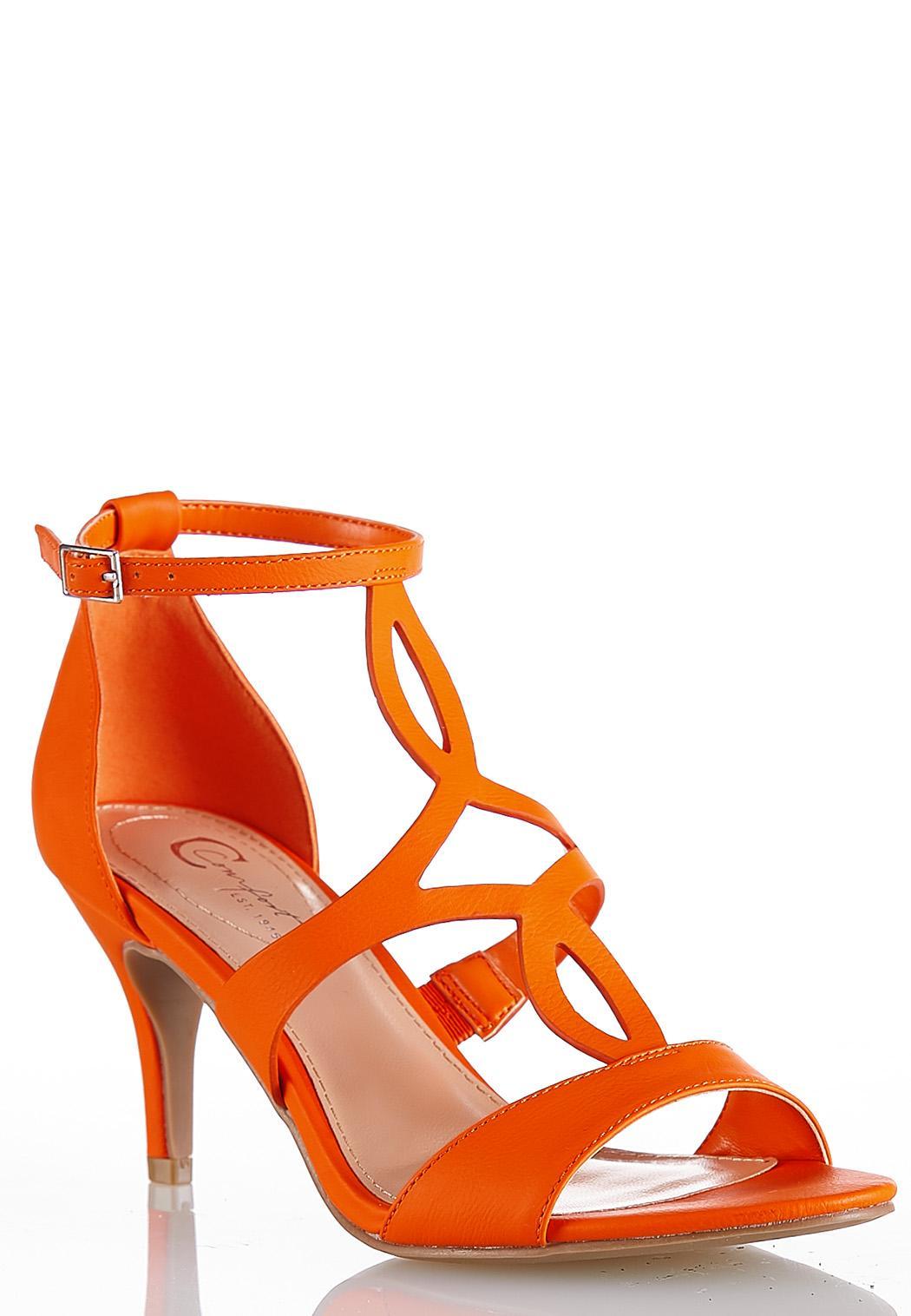 Cutout T-Strap Heeled Sandals