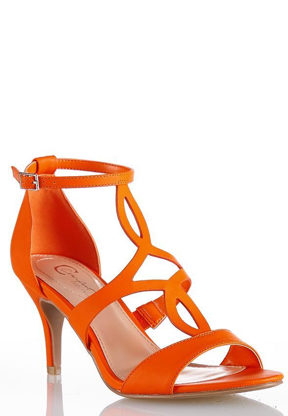 37e2690a3e2 Cutout T-Strap Heeled Sandals Heels Cato Fashions