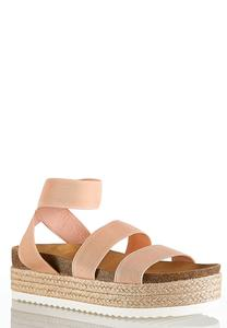 Stretch Band Flatform Wedges