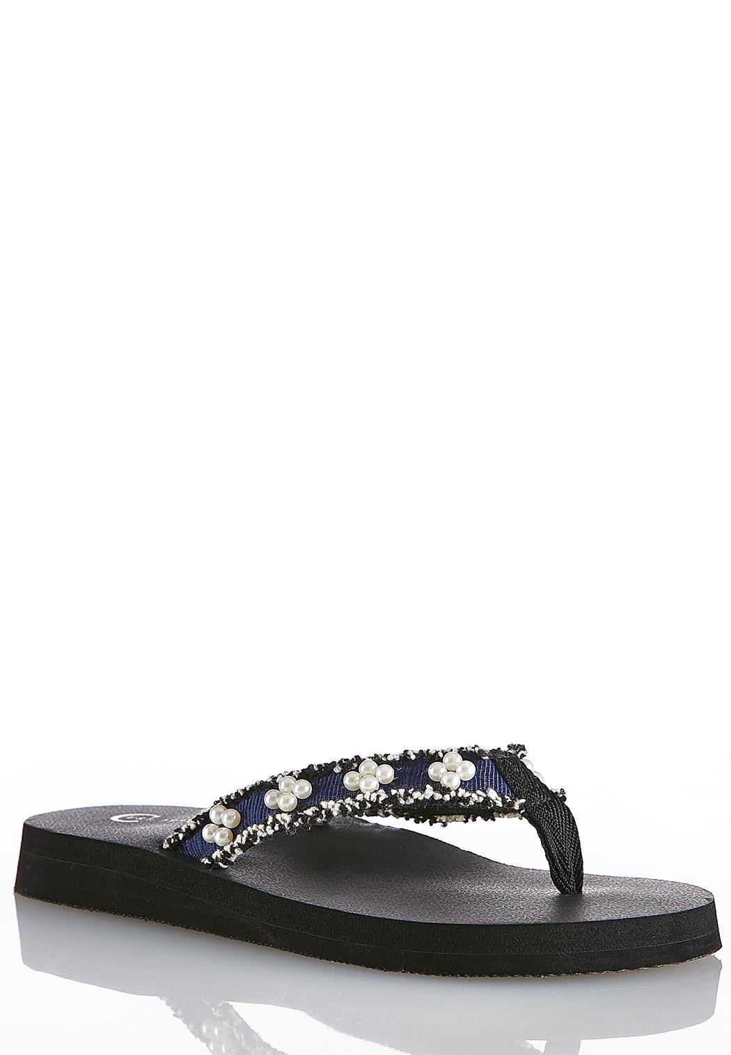 12dbeeea3b2c Frayed Denim Embellished Flip Flops Sandals Cato Fashions