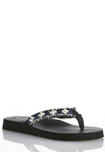 Frayed Denim Embellished Flip Flops