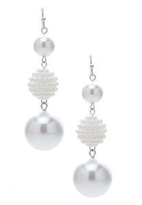 Linear Triple Ball Pearl Earrings