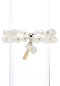 Double Band Pearl Stretch Bracelet