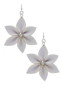 Faux Leather Flower Earrings