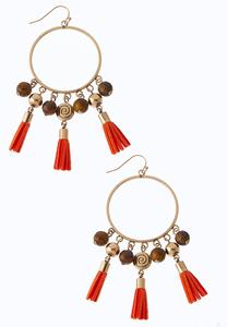 Orange Multi Tasseled Hoop Earrings