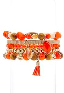 5 Piece Orange Multi Bracelet Set