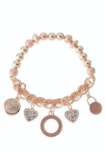 Rose Gold Charm Stretch Bracelet