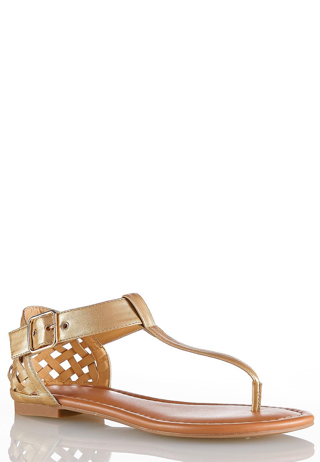 Woven Heel T-Strap Sandals