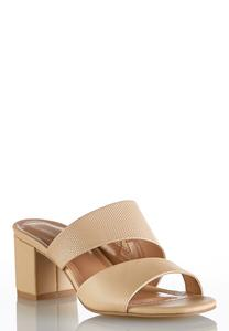Asymmetric Block Heel Slides