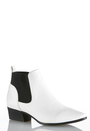 3b90172a0fa Stretch Gore White Ankle Boots Heels Cato Fashions