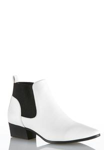 Stretch Gore White Ankle Boots