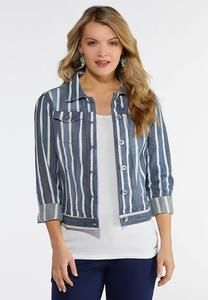 Plus Size Stripe Denim Jacket
