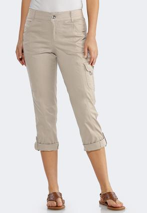 Cropped Roll Tab Cargo Pants