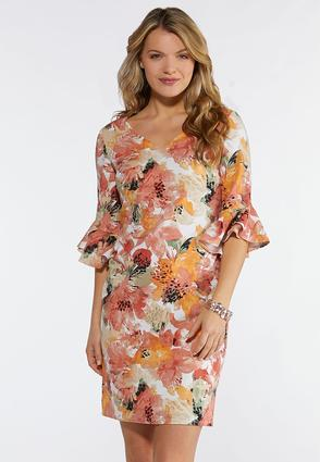 Plus Size Shell Pink Floral Dress