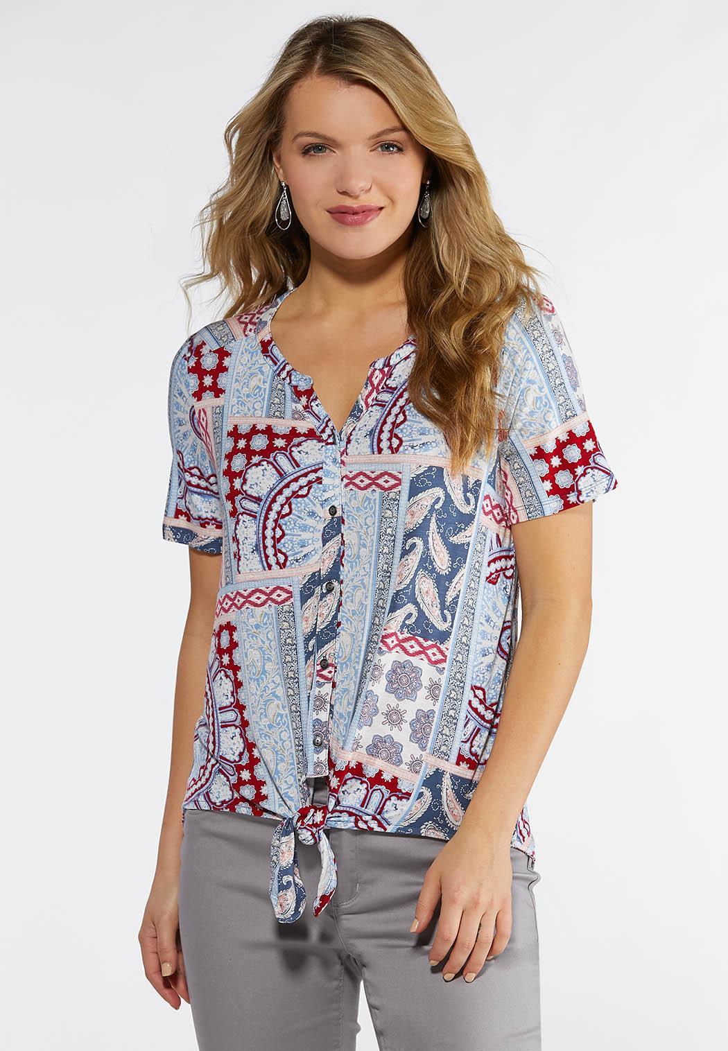 Plus Size Paisley Patchwork Tie Front Top