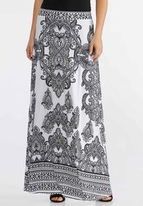 Plus Size Black And White Maxi Skirt