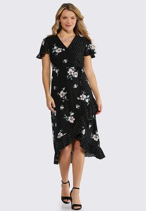 Floral And Dot Faux Wrap Dress