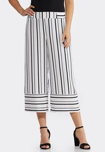 Striped Wide Leg Cropped Pants