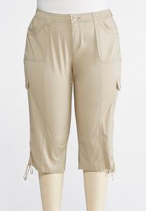 Plus Size Cropped Tie Hem Cargo Pants