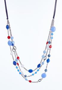 Beaded Layered Cord Necklace