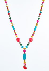 Colorful Bead Tassel Necklace