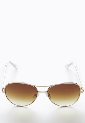 Textured Brow Bar Aviator Sunglasses