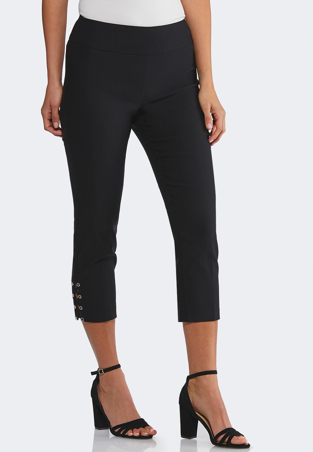 Cropped Lattice Hem Pants