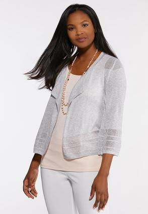 Mesh Stitch Cardigan Sweater