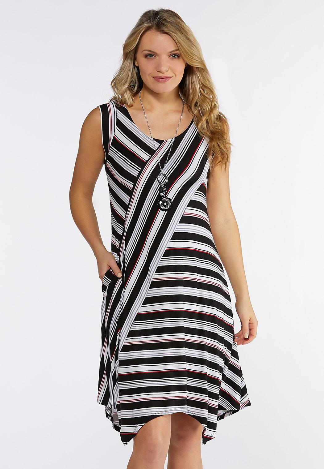 Plus Size Multi Directional Stripe Dress Plus Sizes Cato Fashions