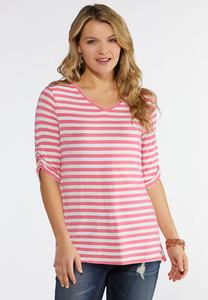 Plus Size Striped Ruched Sleeve Tee