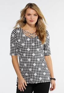 Plus Size Lattice Neck Printed Top