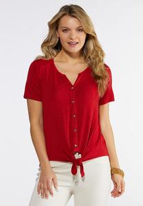 Plus Size Red Tie Waist Top