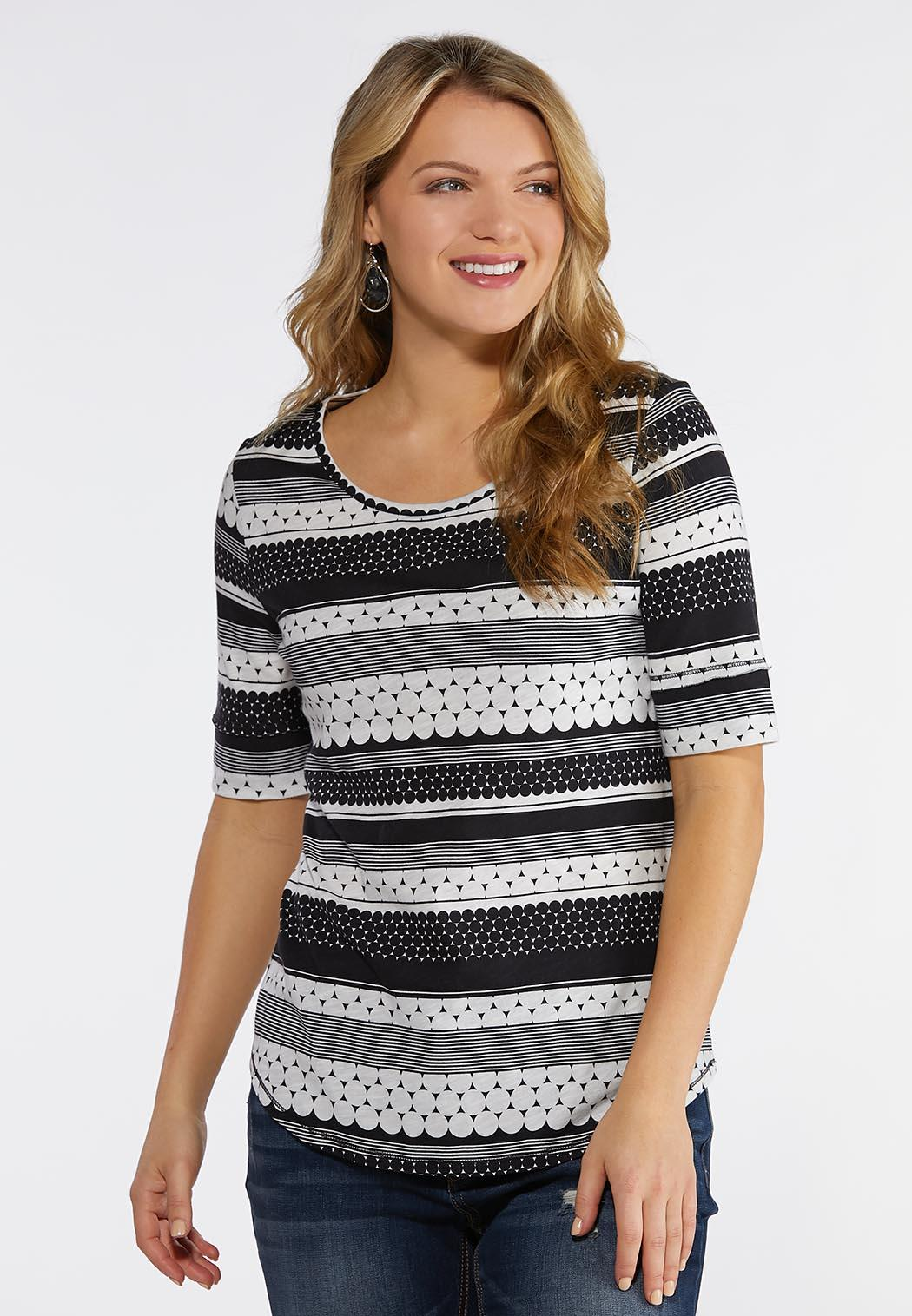 Dotted Stripe Scoop Neck Top