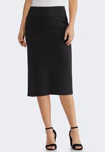Plus Size Solid Scuba Pencil Skirt