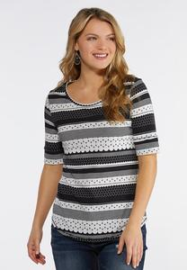 3790924d8c6fc Plus Size Dotted Stripe Scoop Neck Top