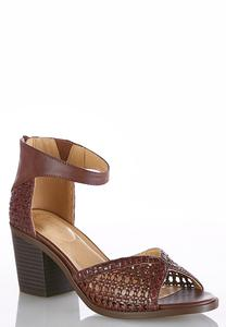 Wide Width Woven Chunky Heeled Sandals