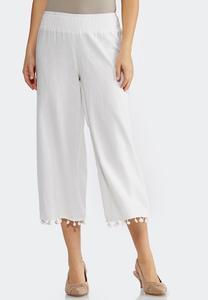 Cropped Pom Pom Linen Pants
