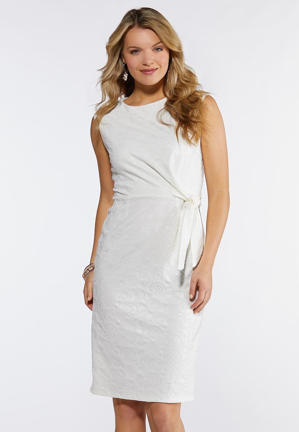 Plus Size Side Tie Knot Sheath Dress Midi Cato Fashions