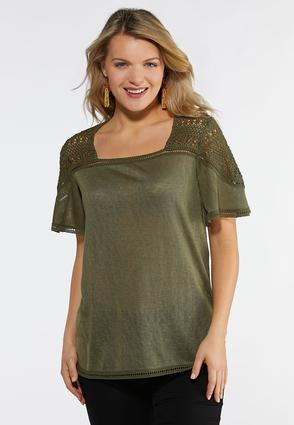 Olive Flutter Sleeve Top