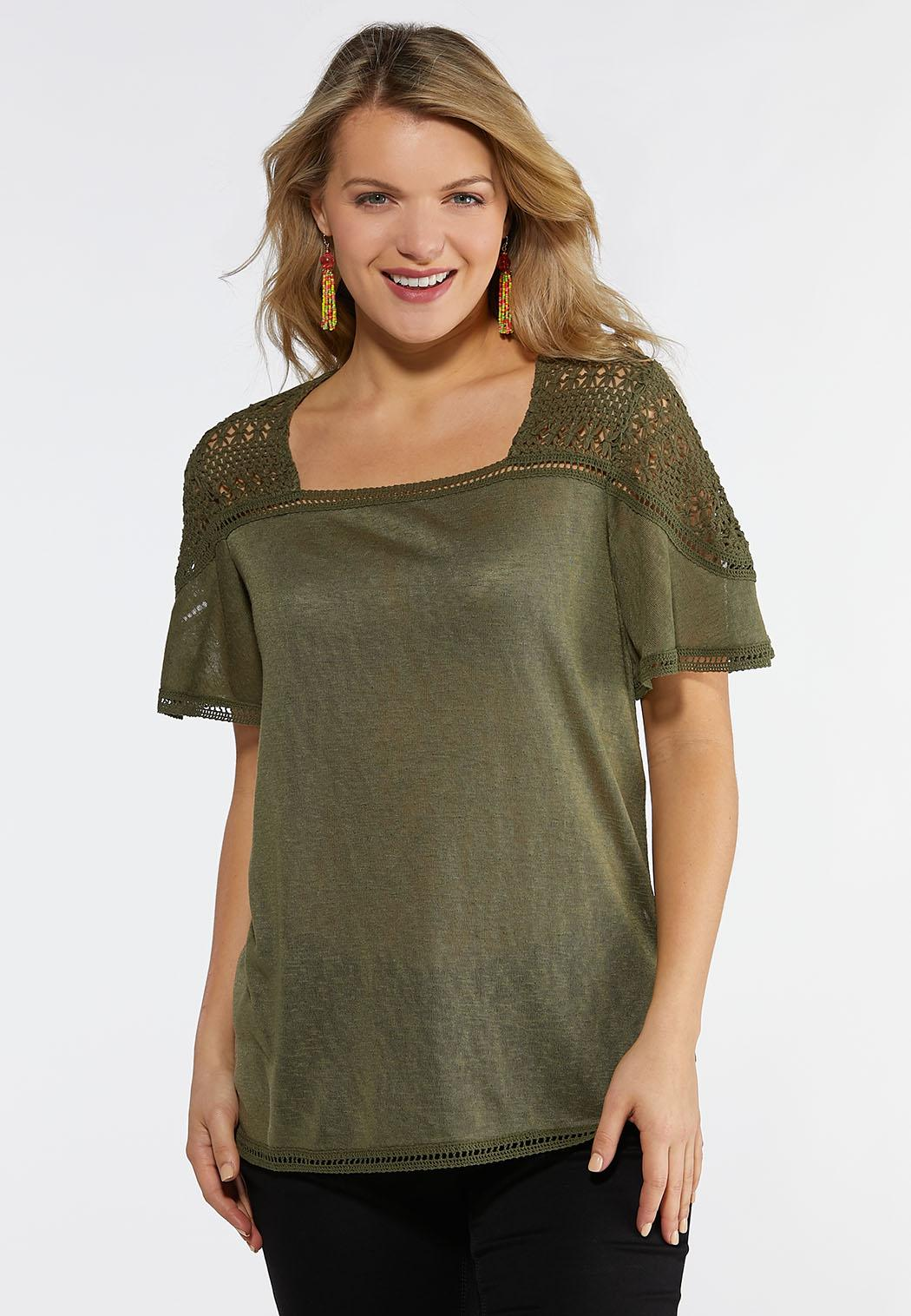 c46e5ec5a1a Plus Size Olive Flutter Sleeve Top Tops Cato Fashions