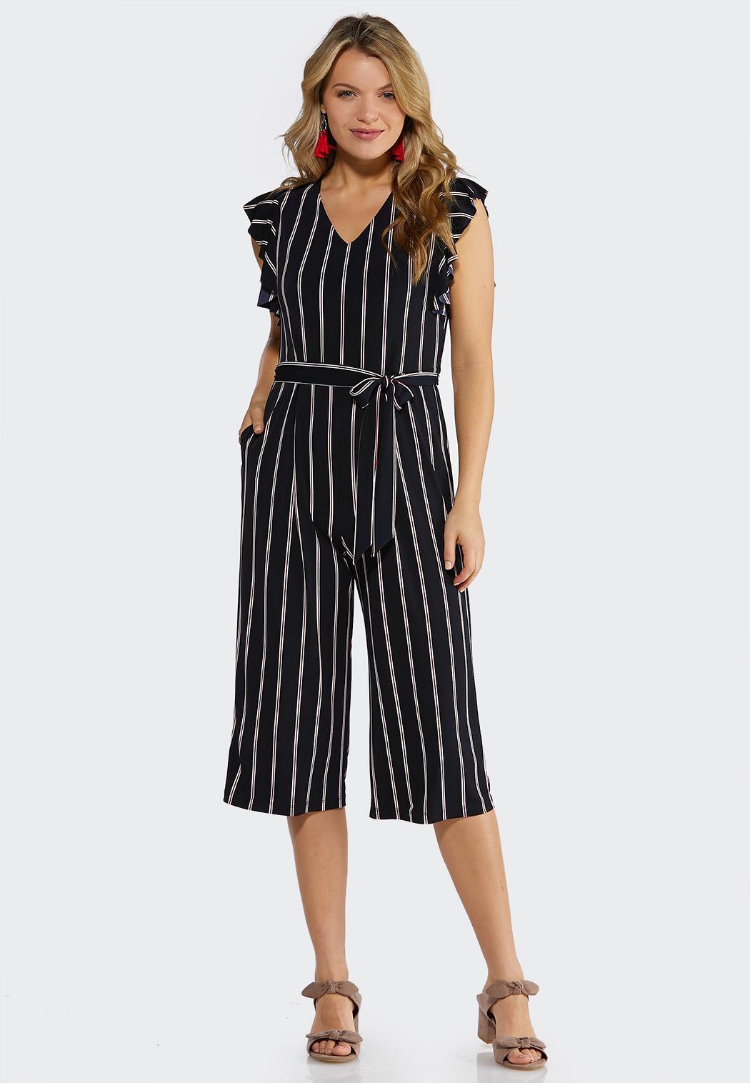 Stripe Flutter Sleeve Jumpsuit