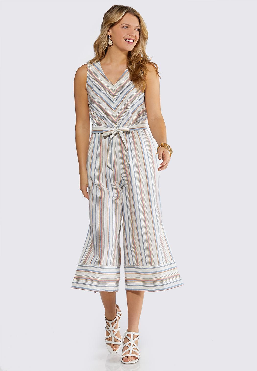 Zip Front Stripe Linen Jumpsuit
