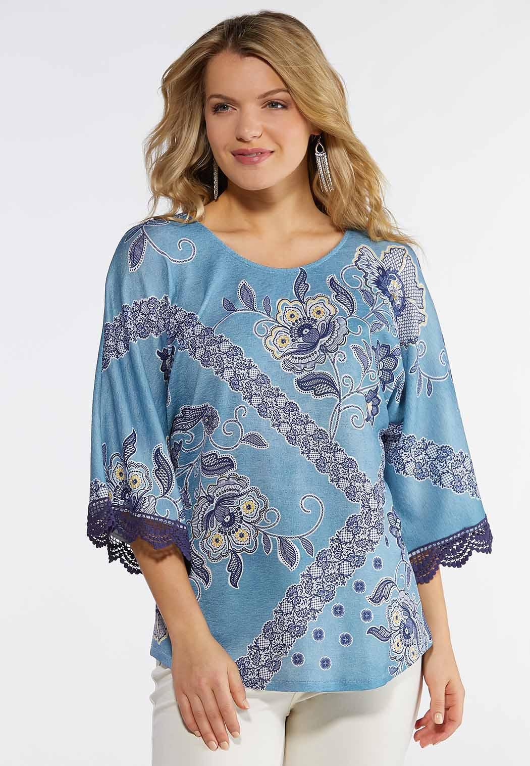 Blue Floral Lace Trim Top