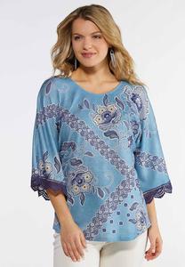 Plus Size Blue Floral Lace Trim Top