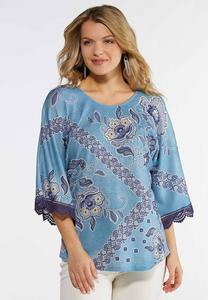 Plus Size Blue Floral Lace Trim Top