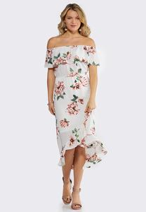 Crepe Ruffled Floral Dress